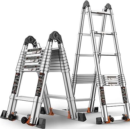 ZR- Aluminio Escalera Telescópica De Extensión, De Múltiples Fines Cuadro Tipo A Escalera Telescópica Y Antideslizante Escalera Recta Capacidad 330LBS -Fácil de almacenar y fácil de llevar: Amazon.es: Hogar