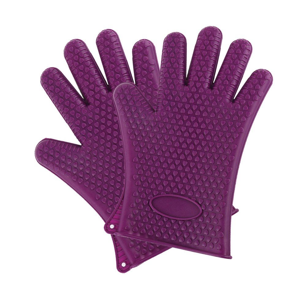 BBQ Grill Gloves Heat Resistant Silicone Gloves,Extra Thick Oven Mitt For Cooking Baking Barbecue Potholder,1 Pair(2 pcs)(Purple)