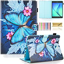 SM-T350 Case, Galaxy Tab A 8.0 Case, Dteck(TM) Protective Synthetic Leather Smart Wallet Case with [Auto Sleep Wake] Cute Cartoon Flip Stand Cover for Samsung Galaxy Tab A 8.0 Tablet-Butterfly Flower