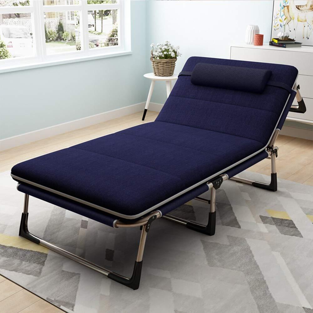Caishuirong Klappbett for Innen Büro Balkon Terrasse Garten Strand Außenklappbett als Büro Nap-Bett mit Plüsch-Pad Geeignet für Erwachsene, die viel Platz mögen. (Farbe : Blau, Größe : 193X62X29CM)