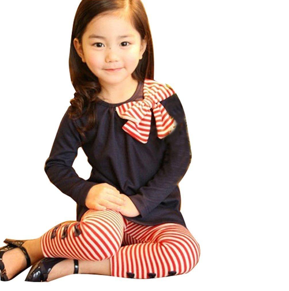 jileSM Girls Bowknot T-Shirt + Trousers Clothing Set (Navy 110cm)