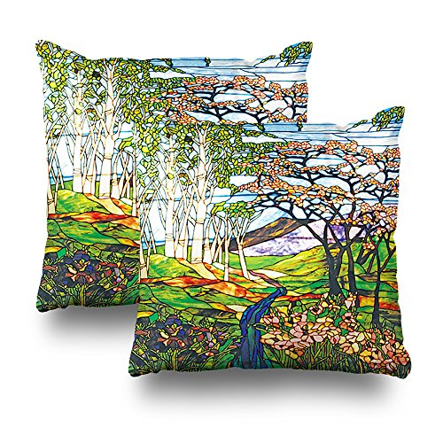 Birch Glass Waterfall - Pakaku Set Of 2 Throw Pillows Covers For Couch/Bed 18 x 18 inch,Waterfall Iris Birch Tiffany Stained Glass Window Home Sofa Cushion Cover Pillowcase Gift Decorative Hidden Zipper Summer Beach