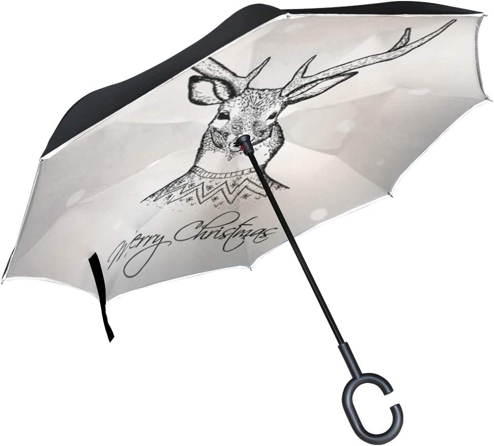 Inverted Umbrella with Watercolor Christmas Deer Reindeer Print Car Reverse Folding Umbrella Windproof UV Protection with C-Shaped Handle