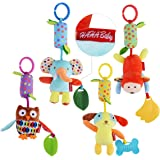 HAHA Baby Toys for 0 3 6 to 12 Months - Soft Hanging Crinkle Squeaky Sensory Educational Toy Infant Newborn Stroller Car Seat Crib Travel Activity Plush Animal Wind Chime with Teether for Boys Girls