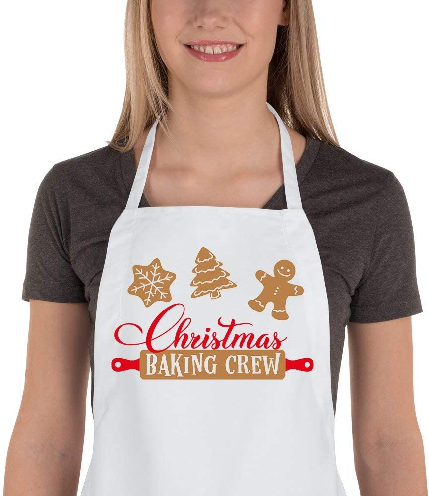 Saukore Funny Christmas Baking Apron for Women Men Adjustable Kitchen Chef Cooking Aprons with 2 Pockets Cute Xmas Apron Gift for Bakers - Christmas Baking Crew