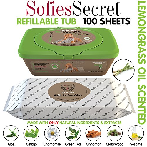 SofiesSecret XL PET Wipes, Lemongrass Scented All in One Grooming Tub 100 Count for Paws, Coat, Skin, Face, Ears and Teeth 100% Natural & Organic Extracts Extra Thick Extra Large Cruelty Free & Vegan