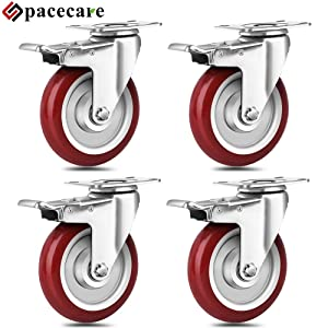 SPACECARE 5 Inch Swivel Casters Wheels 1500lbs Heavy Duty Casters with Brake Polyurethane Dual Locking Casters Set of 4 Red