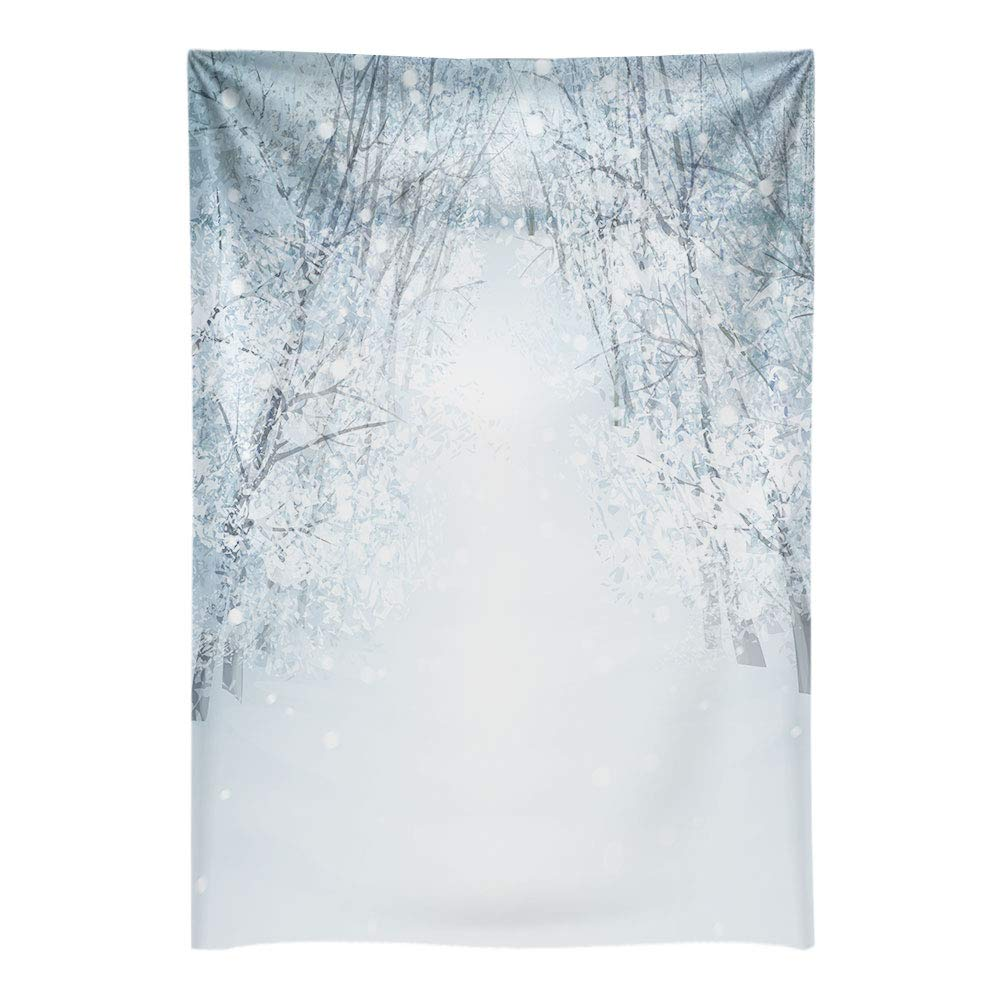 Funnytree 6.5x10ft White Snow Winter Tree Road Photography Backdrop Bokeh Wonderland Background Frozen Snowflake Glitter Newborn Baby Portrait Photobooth Banner Party Decorations Photo Studio Props by Funnytree
