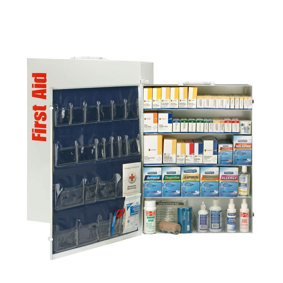 200 Person 5 Shelf First Aid Cabinet, ANSI B+, Type I & II with Medication, Metal-OSHA Compliant 2018 Trauma Kit First Aid Kit for Businesses Emergency Kit