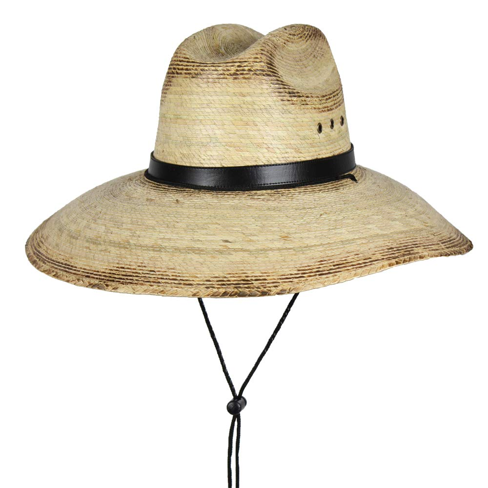 Mexican Palm Leaf Straw Lifeguard Sun Hat w/Chin Strap & Vented Crown