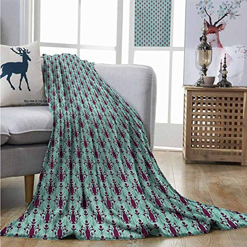 Homrkey Cozy Blanket Damask Flowers and Vase Silhouette with Ornate Swirls on Pastel Toned Background Summer Blanket W60 xL80 Purple Pale Green ()