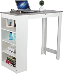 Estink Counter Height Bar Table, 44.6in Modern High Feet Pub Bar Table Kitchen Breakfast Pub Table with Side Storage Shelves for Home Living Room Dining Room Bistro Bar Pub and Small Places