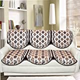 Tanya's Homes Beige and Brown Reversible Abstract design heavy chenille and velvet sofa covers set for 3 seater sofa - pack of 6 piece with Length :- 66 ; Width :- 27