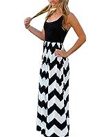 AKABELA Women's Summer Dresses Maxi Chiffon High Waist Striped Sleeveless Elegant Beach Dress Party Dress