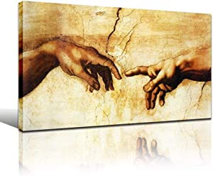 Faicai Art Banksy Graffiti Canvas Painting Creation of Adam Hand of God Printed Pictures Classical Religion Modern Wall Decor for Living Room Famous Art Prints Posters Framed Ready to Hang 12