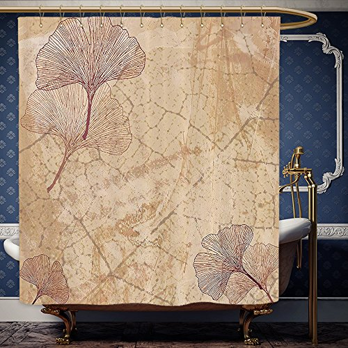 Wanranhome Custom-made shower curtain Beige Decor Small Large Ginkgo Leaves Pattern Dramatic Dated Fossil Maidenhair Tree Nature Art Print Beige Brown For Bathroom Decoration 69 x 72 (Maidenhair Shell)