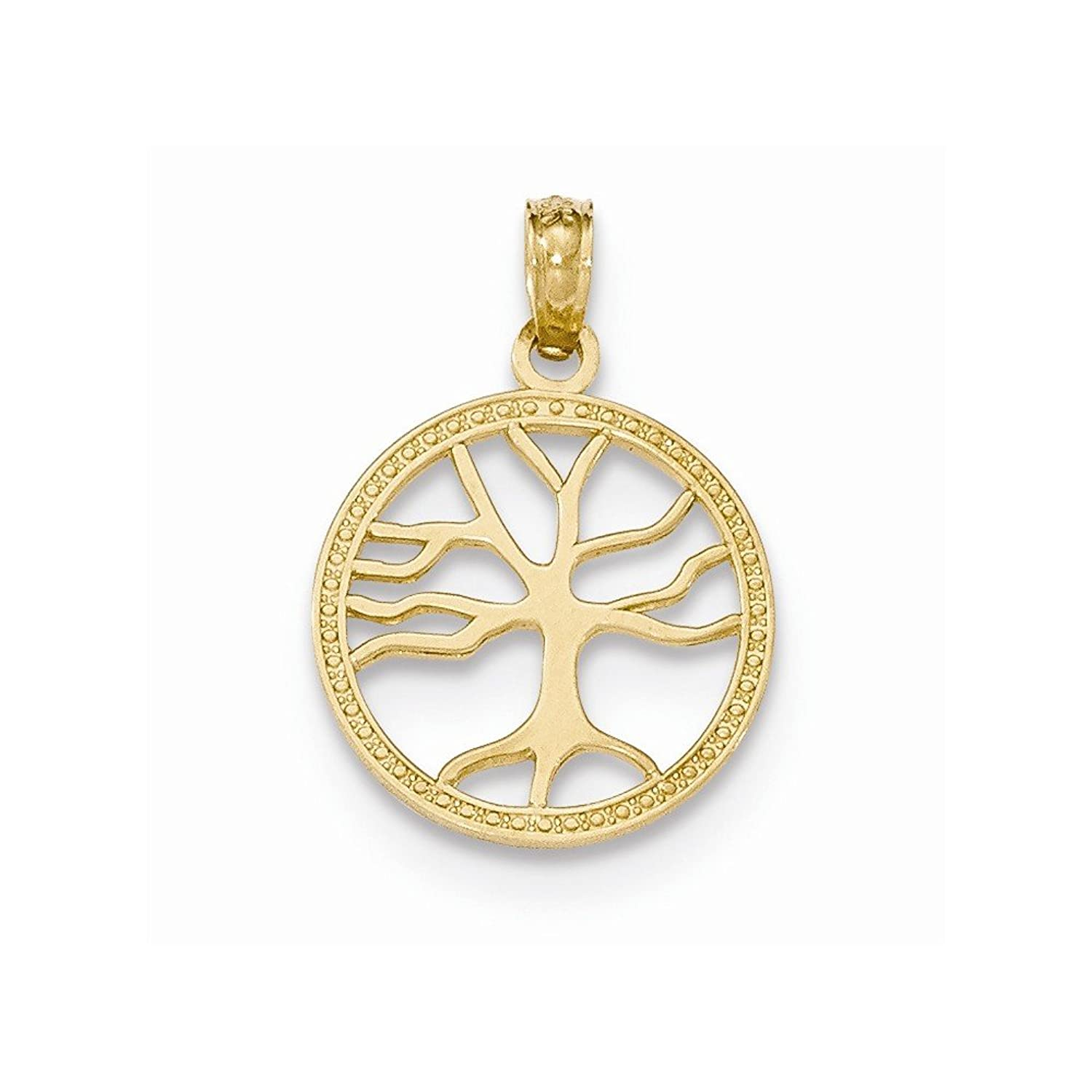 14K Gold Polished 3-D Small Tree of Life in Round Frame Pendant