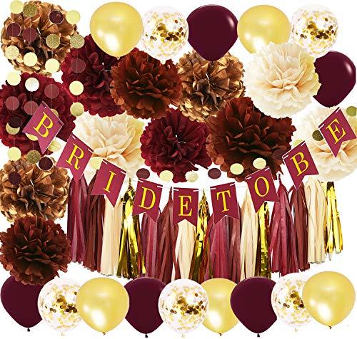 (Wine Burgundy Champagne Gold Bridal Shower Decorations/Fall Wedding Decorations Big Size Burgundy Tissue Pom Pom Maroon Gold Ballons Bride to Be Banner Burgundy Wedding Party Decorations)