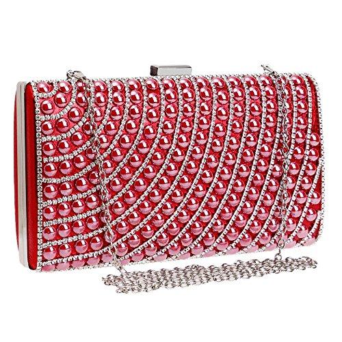 TuTu Frauen Abendtaschen Faux Perle Cascading Perle Strass Abend Kupplung Mode Geldbörse red