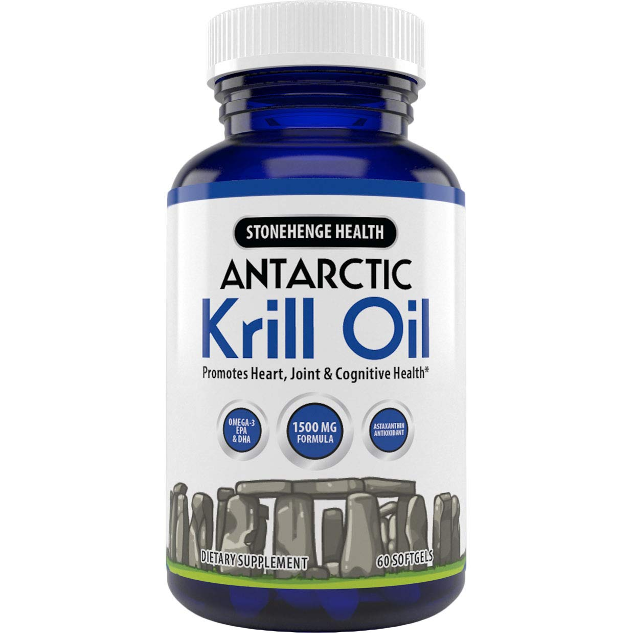 Stonehenge Health Antarctic Krill Oil - Manufactured in USA - Supports Heart, Joint & Brain Health - Maximum Strength Omega-3 EPA - Lemon-Scented - Easy to Swallow - 60 Softgels 30 Day Supply (1) by Stonehenge Health