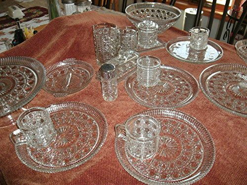 20 Piece Federal Glass Windsor Complete Set of 4 Snack Plates and Serving Pieces