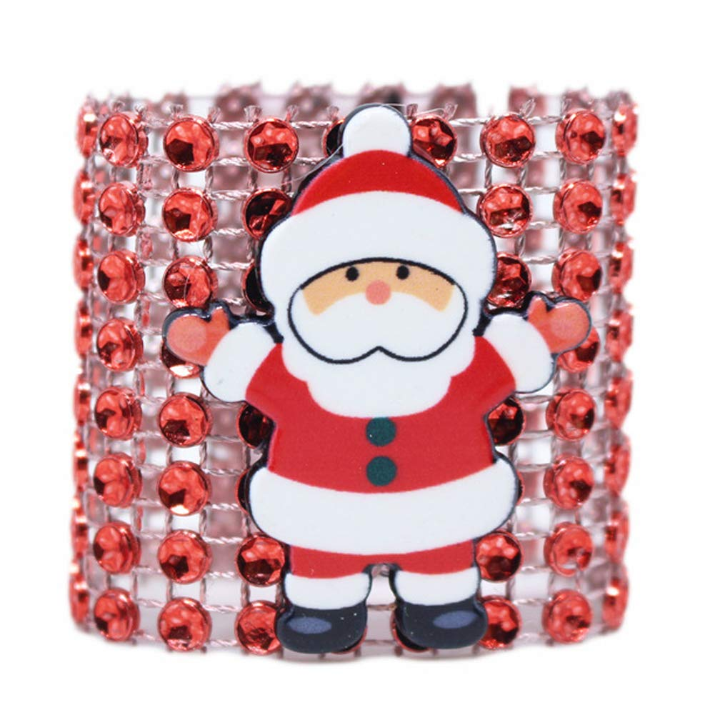 10 pcs Rhinestone Santa Claus Napkin Rings Holders Christmas Party Tabel Decorations Supplies BONNIO