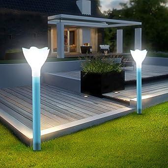 Uonlytech Luces de Vía Solar Al Aire Libre Decoración de Luces de Estaca de Jardín Solar en Forma de Flor para Jardín Vía Césped Patio Paisaje - 2 Piezas Azul: Amazon.es: Iluminación