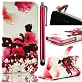 Vandot Samsung Galaxy A3(2016) SM-A310 Colorful Printing Case,3in1 Set Luxury Bling Shiny Crystal Rhinestone Cover PU Leather Magnetic Closure Flip Folio Stand Wallet Case Protective Skin Shell+Diamond High Heel Anti Dust Plug+Stylus Pen-Working Girl Flower