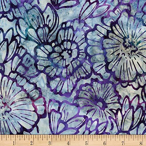 Robert Kaufman Artisan Batiks Terrace 3 Large Flowers Jewel Fabric Fabric by the Yard