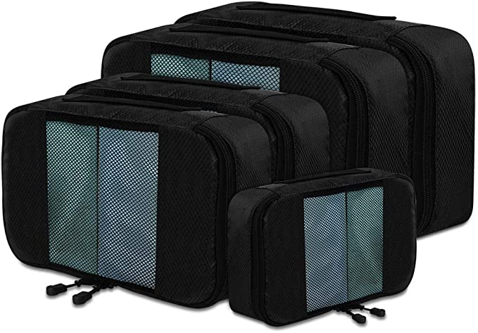 CGBE Packing Cubes, 5 Pcs Travel Luggage Organizer Set Traveling Suitcase Accessories Mesh Bags in 3 Various Sizes Large Medium & Small (Black)
