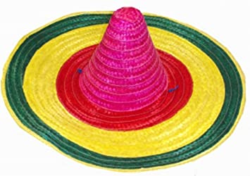 f58c8033 GCC Fashion Store Multi Coloured Mexican Sombrero Hat Straw Wild West  Adults Fancy Dress (Multi