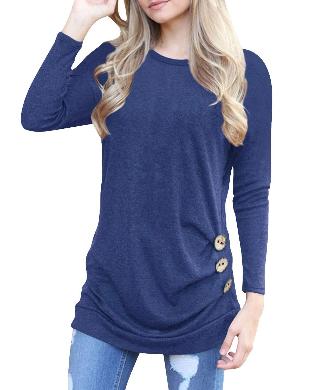 deesdail Womens Long Sleeve Casual T Shirts Button Trim Loose Tunic Tops Blue