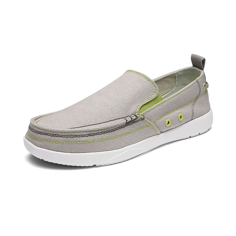 VILOCY Men's Casual Driving Canvas Slip-On Loafers Outdoor Walking Shoes Lightweight Sneakers Gray,43