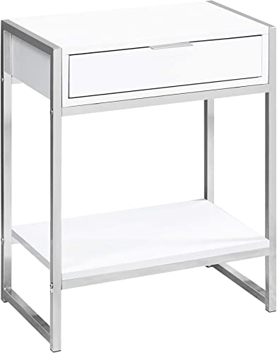 Monarch Specialties I Accent, END Table, Night Stand, WHITE