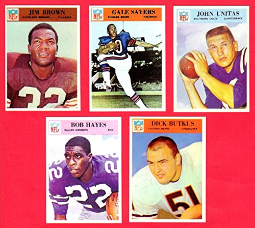 1966-philadelphia-gum-co5-card-football-reprint-lot-with-original-backs-jim-brown-last-card-issued-g