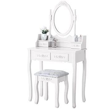 Mecor Luxury White Dressing Table With Mirror And Stool Vanity