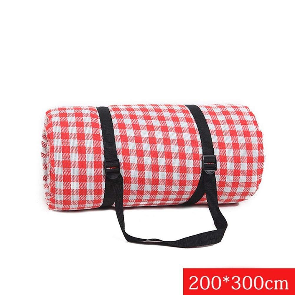 Tama/ño : 150 * 200cm Colchoneta De Playa para Acampar Al Aire Libre con Respaldo Impermeable Rejilla Roja Y Blanca Manta de picnic Alfombra Extra Grande