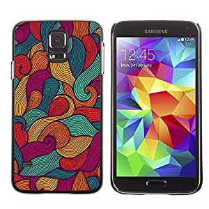 A-type Arte & diseño plástico duro Fundas Cover Cubre Hard Case Cover para Samsung Galaxy S5 (Art Lines Drawing Painting Waves)