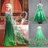Disfraz de la Princesa ELSA ANNA de Frozen Vestido Niña (Talla 140 (7-8 años))