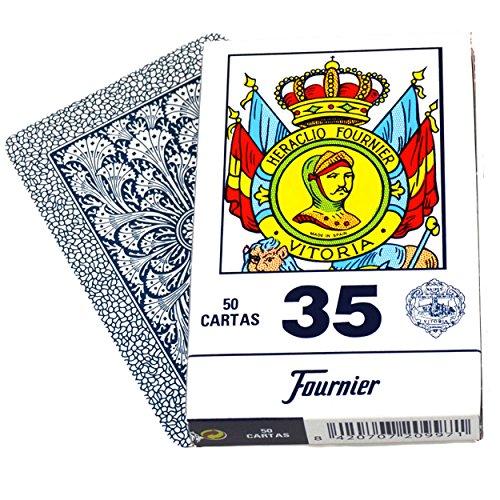 Deck 50 Fournier Round Spanish Playing Cards Case Baraja Española Redondas Naipe