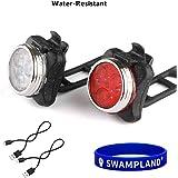 Wiederaufladbare LED Fahrradlampe, LED Frontlicht und Rücklicht Für Radfahren,2 USB-Kabel, 4 Licht-Modi,Wasserdicht IPX4 Fahrradleuchten Set