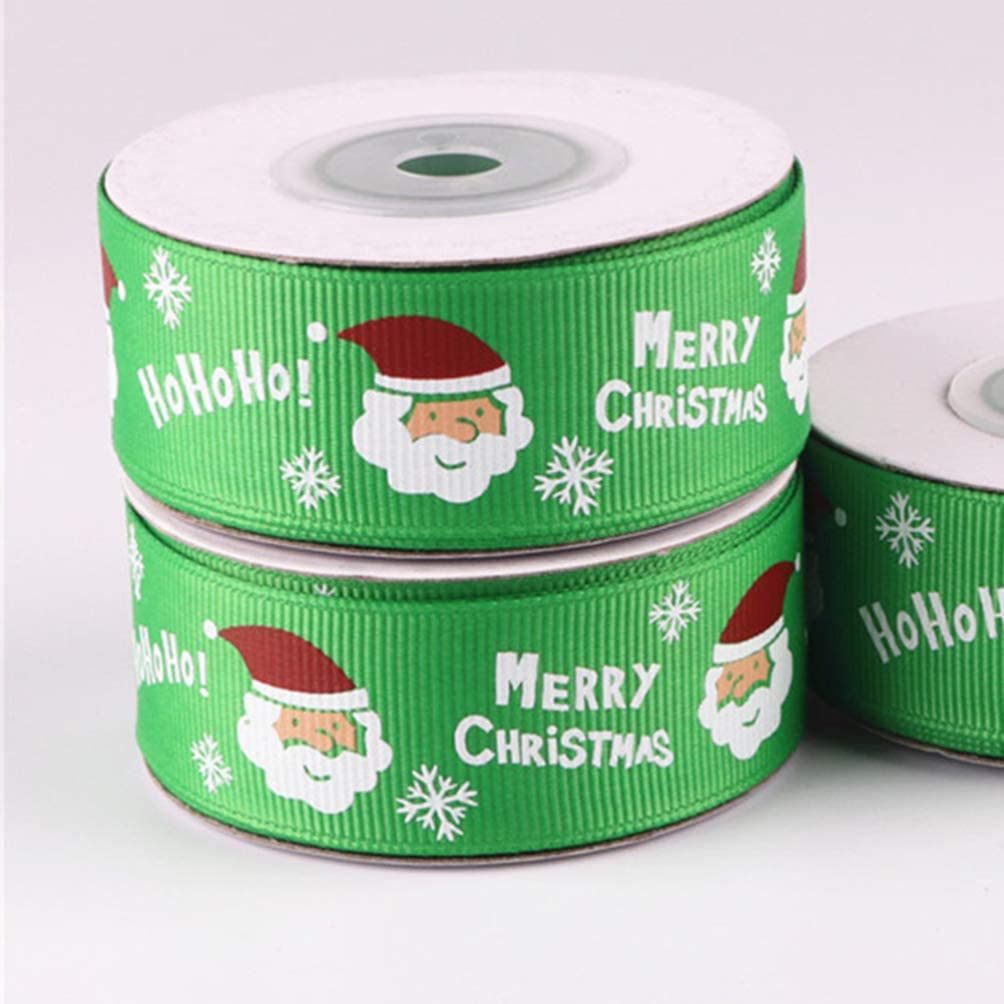 PRETYZOOM 20 Yards 1 Inch Merry Christmas Polyester Grosgrain Ribbon Holiday Ribbon for Christmas Gift Package Wrapping Ribbon 2 Colors