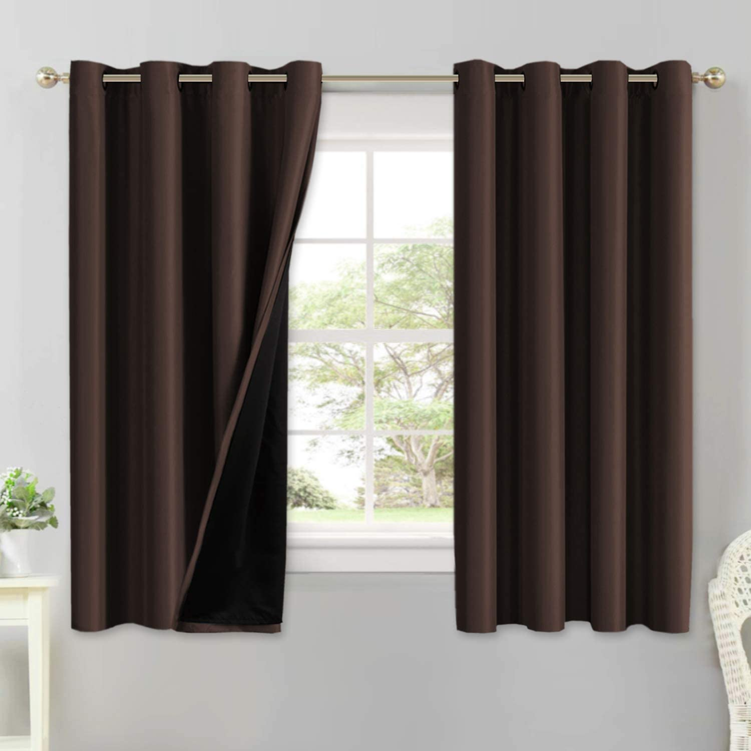 Zhoudd 3D Blackout Curtains Seaside Reed 2/Panels W29/X/L65/Inch Thermal Insulated Eyelet Window Blinds Room Darkening Drapes For Baby Nursery Room