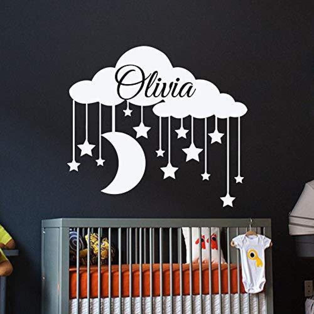 Blanco 52x58cm Estrellas Blancas en la Nube Pueden ser Personalizadas Bebé niños Nombre inglés Dormitorio Tallado Pegatinas de Pared Decorativas se Pueden Personalizar a Color: Amazon.es: Hogar