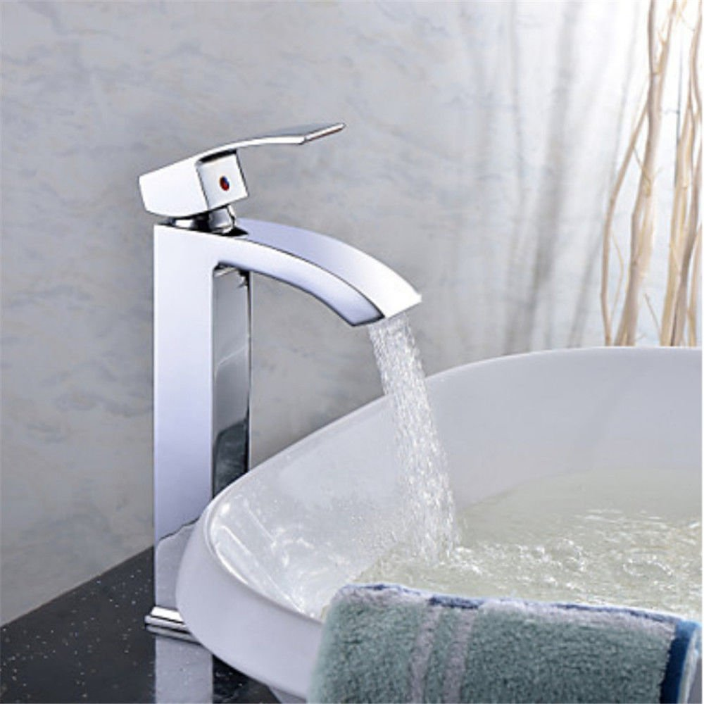 Hlluya Professional Sink Mixer Tap Kitchen Faucet Chrome plated brass body faucet full waterfall faucet quartet of desk top basin faucet single handle bathroom sink Faucet