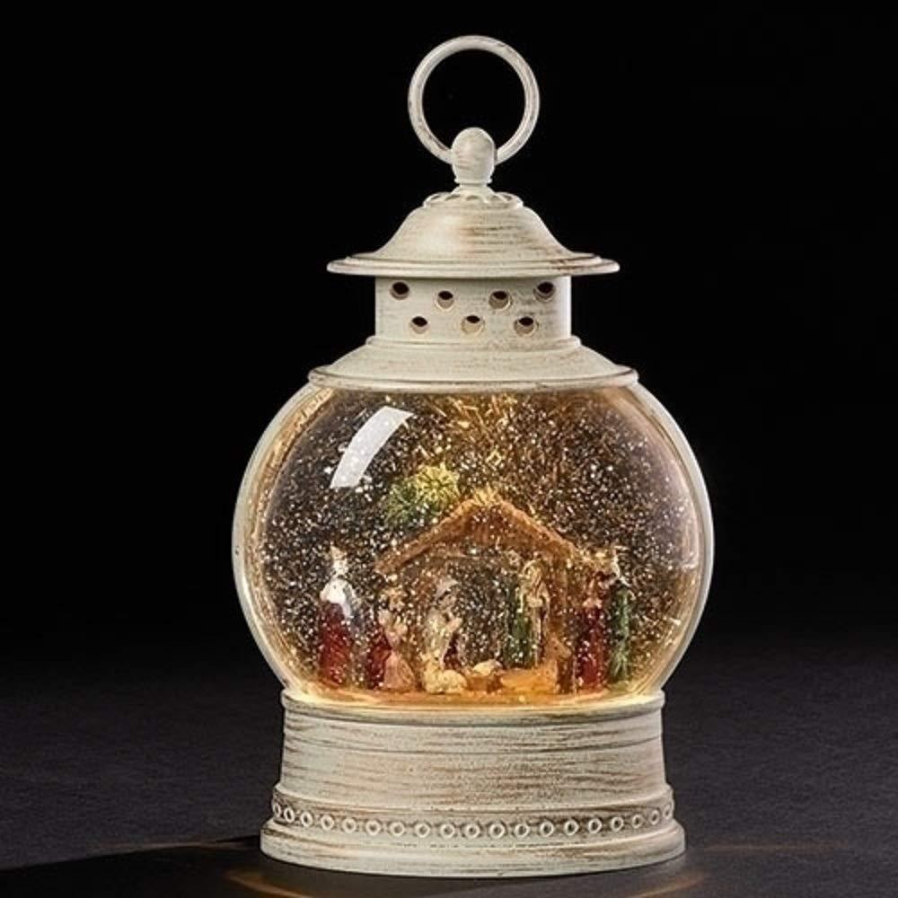 LED Nativity Lantern  Rustic White 11 x 7 Acrylic