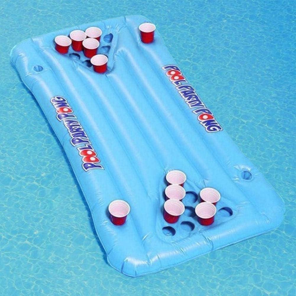 Floating Pool Party Game Raft Lounge Gonflable Pool Party Barge Floating Beer Pong Float Cooler Blue 5 Feet , Jeu gonflable flottant Beer Pong