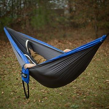 amazon    castaway hammocks double travel hammock   blue charcoal  sports  u0026 outdoors amazon    castaway hammocks double travel hammock   blue      rh   amazon