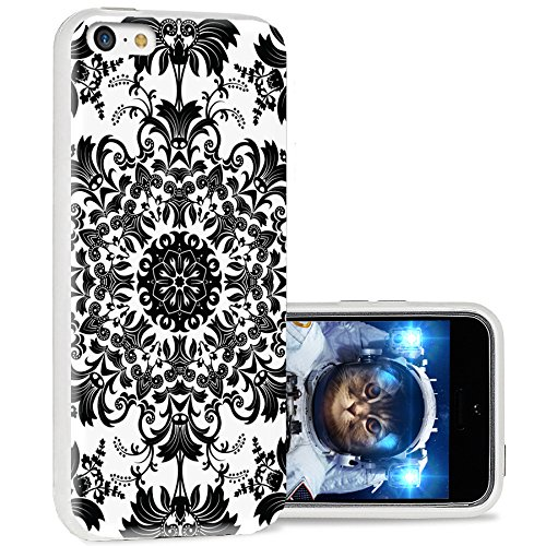 iPhone 5c case Cool, iPhone 5c case Cute, ChiChiC Full Protective Stylish Case Slim Durable Soft TPU Cases Cover for iPhone 5c,Geometric Black White Classical Floral Pattern