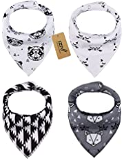 iZiv 4 PACK Baby Bandana Drool Bibs with Adjustable Snaps, Absorbent Soft Cotton Lining 0-2 Years (Color-8)